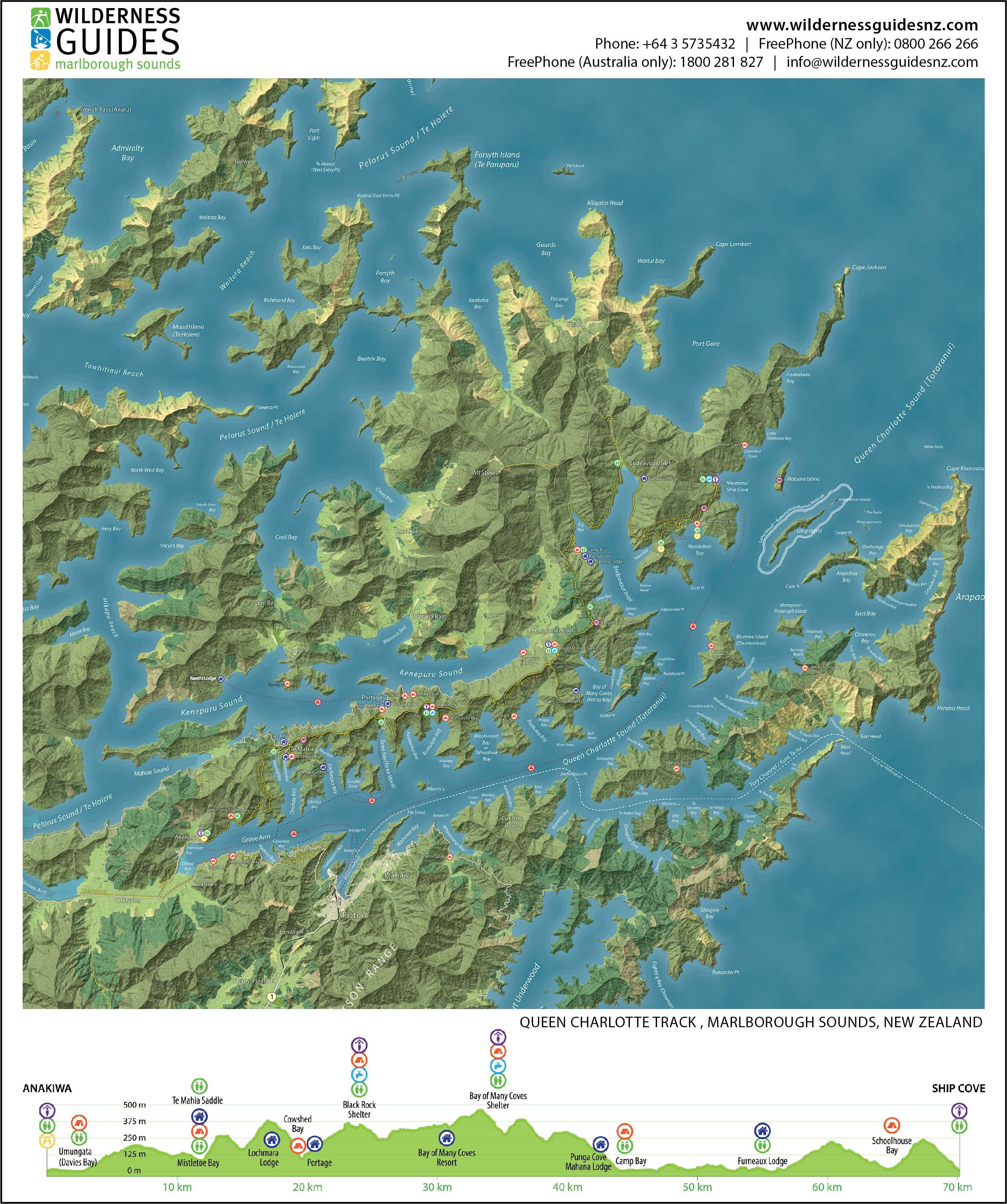 Queen Charlotte Track Map | Wilderness Guides on
